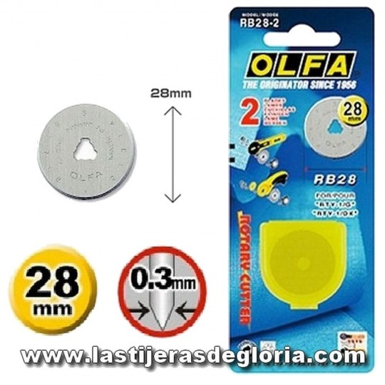 Recambio 2 cuchillas rectas Cutter OLFA 28 mm.