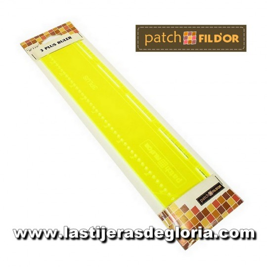 "Regla 3 Plus Ruler de 2,5"" x 12"" para Jelly Roll y círculos Patch Fil D'or"