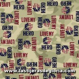 "Tela palabras sobre verde oliva ""I Love my Hero"" de Quilting Treasures"