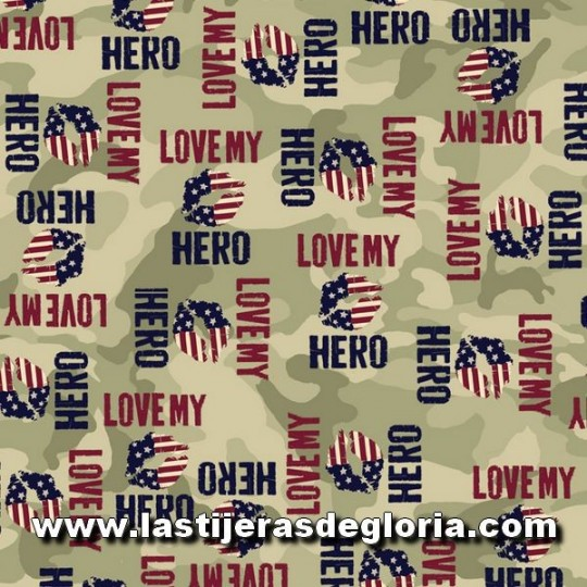 "Tela palabras sobre verde oliva ""Love my Hero"" de Quilting Treasures"