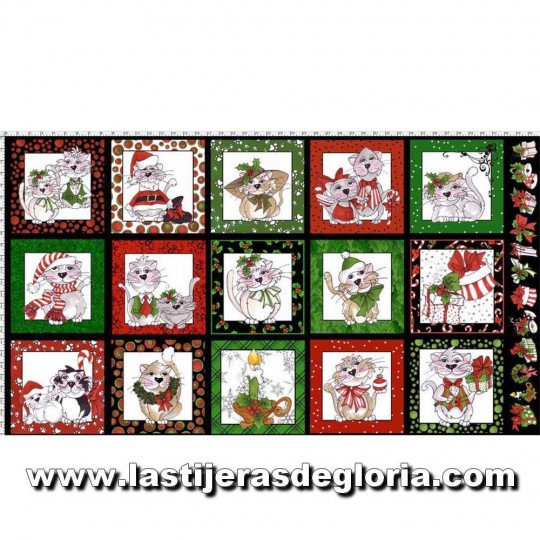 Panel Gatos Loralie colección Kitty Kitty Christmas