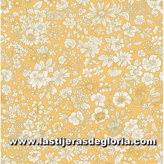 "Tela floral amarillo dorado colección ""The English Garden"" de Liberty London"