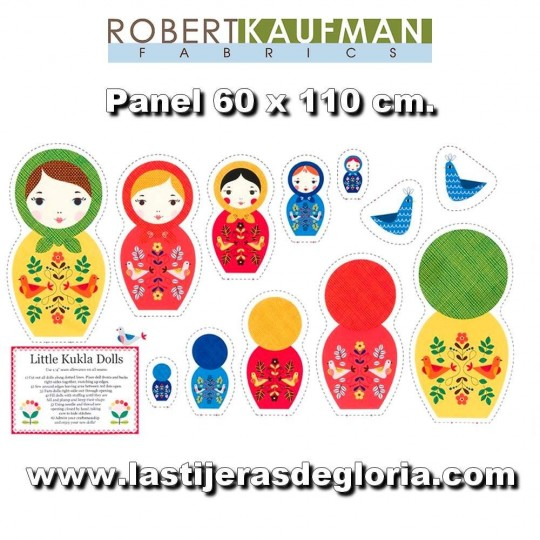 "Panel Matrioskas ""Little Kukla Dolls"" de Suzy Ultman para Robert Kaufman"