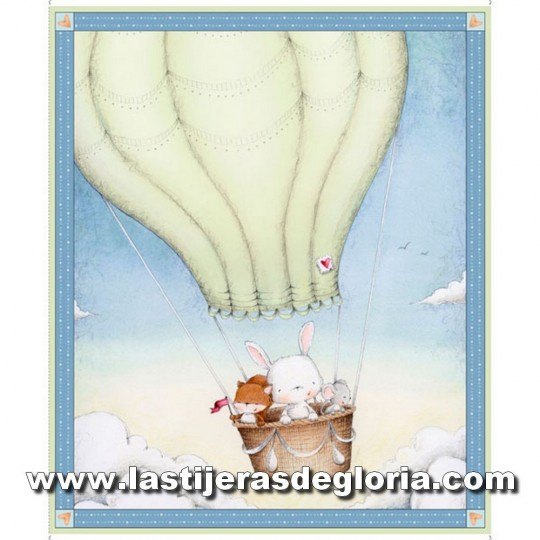Panel 90 cm. animalitos en globo colección Up, Up and Away de Quilting Treasures