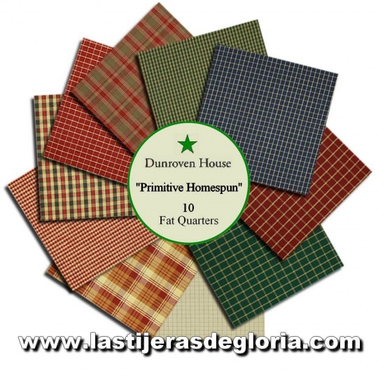 Surtido 10 Fat Quarters telas Country colección Primitive Homespun de Dunroven House