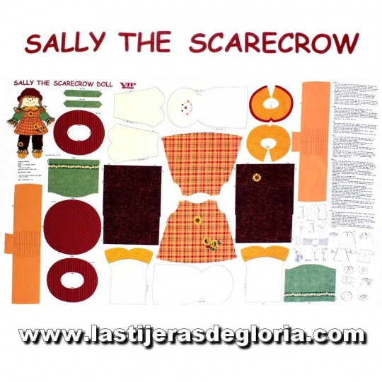 Panel muñeca espantapájaros Sally the Scarecrow de Quilting Treasures
