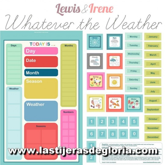 "Panel calendario perpetuo ""Today is"" colección Whatever the Weather de Lewis & Irene"