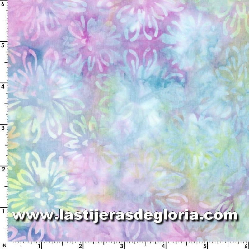 Tela Bejeweled Batiks floral multicolor de Maywood Studio