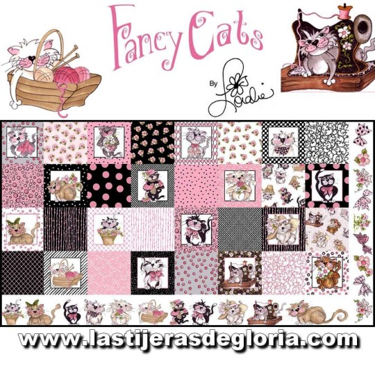 "Panel gatitos Loralie ""Medley Fancy Cats"" de Loralie Designs"