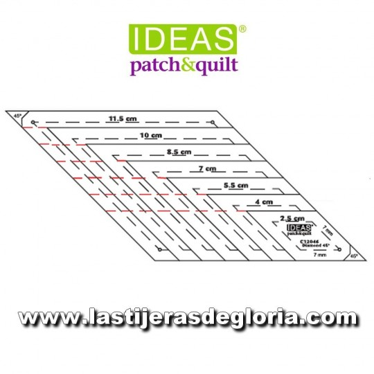 Regla Patchwork plantilla diamante rombos en cm. de 45º IDEAS Patch