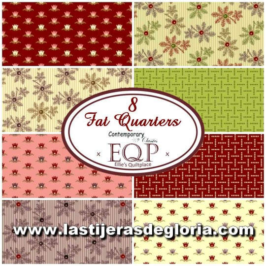 ÚLTIMO - Set A de 8 Fat Quarters colección Contemporary Classics de Ellie's Quilt PlaceSew de Henry Glass