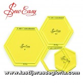 Set plantillas patchwork hexagonales con margen de costura Sew Easy
