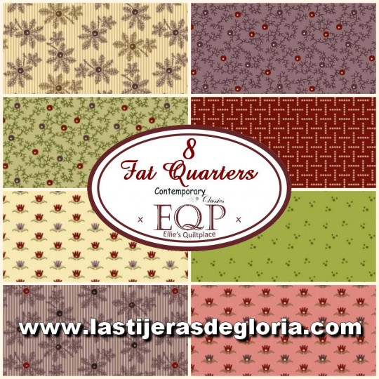 Set B de 8 Fat Quarters colección Contemporary Classics de Ellie's Quilt PlaceSew de Henry Glass