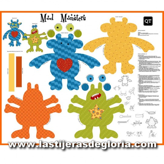 Panel 90 cm. muñecos monstruos Mod Monsters Sew & Go de Quilting Treasures