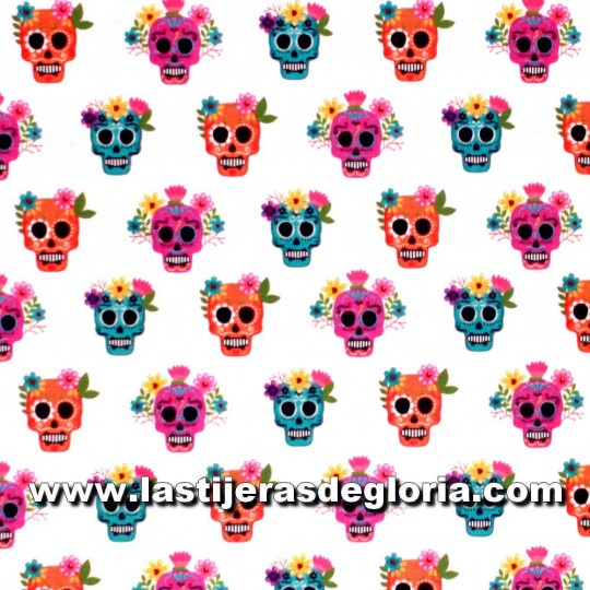 Tela calaveras multicolor sobre blanco Exclusive Patchwork