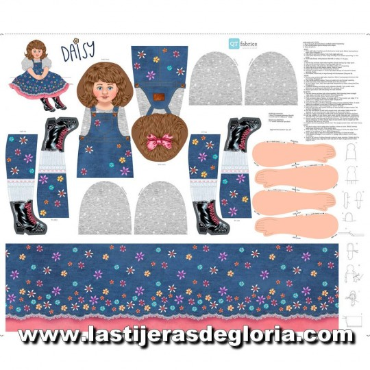 Panel 90 cm. muñeca Daisy color denim Sew & Go de Quilting Treasures