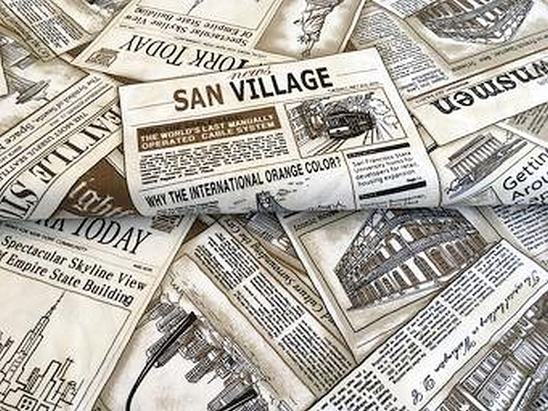Tela patchwork periódicos sepia colección Cityscapes de Paintbrush Studio