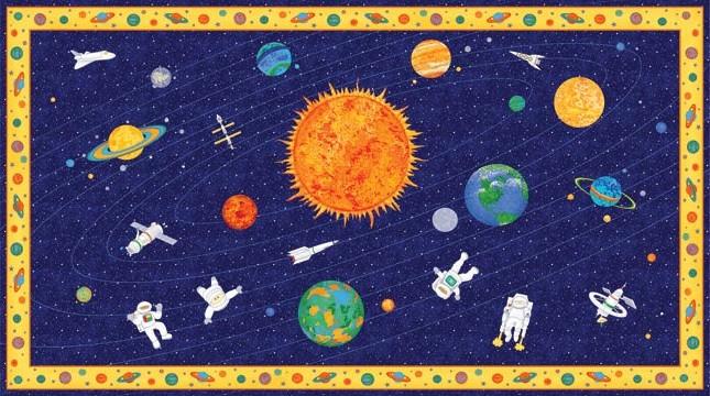 panel infantil de patchwork de la coleccion Space Blast Off de Northcott Fabrics
