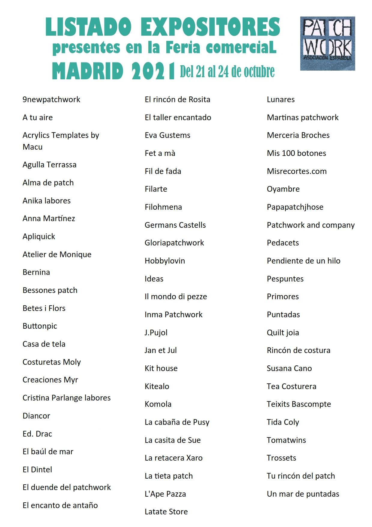 listado expositores feria patchwork madrid 2021